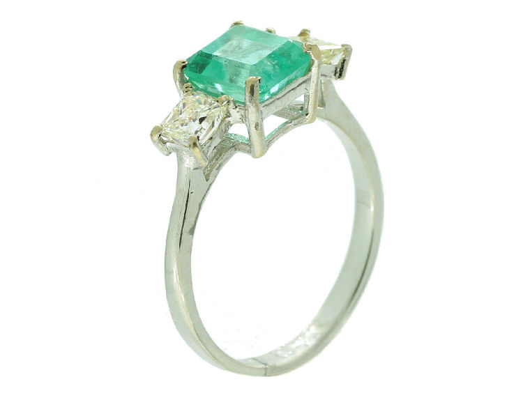 2 29ct Three Stone Colombian Emerald & Diamond Ring in 14K White Gold