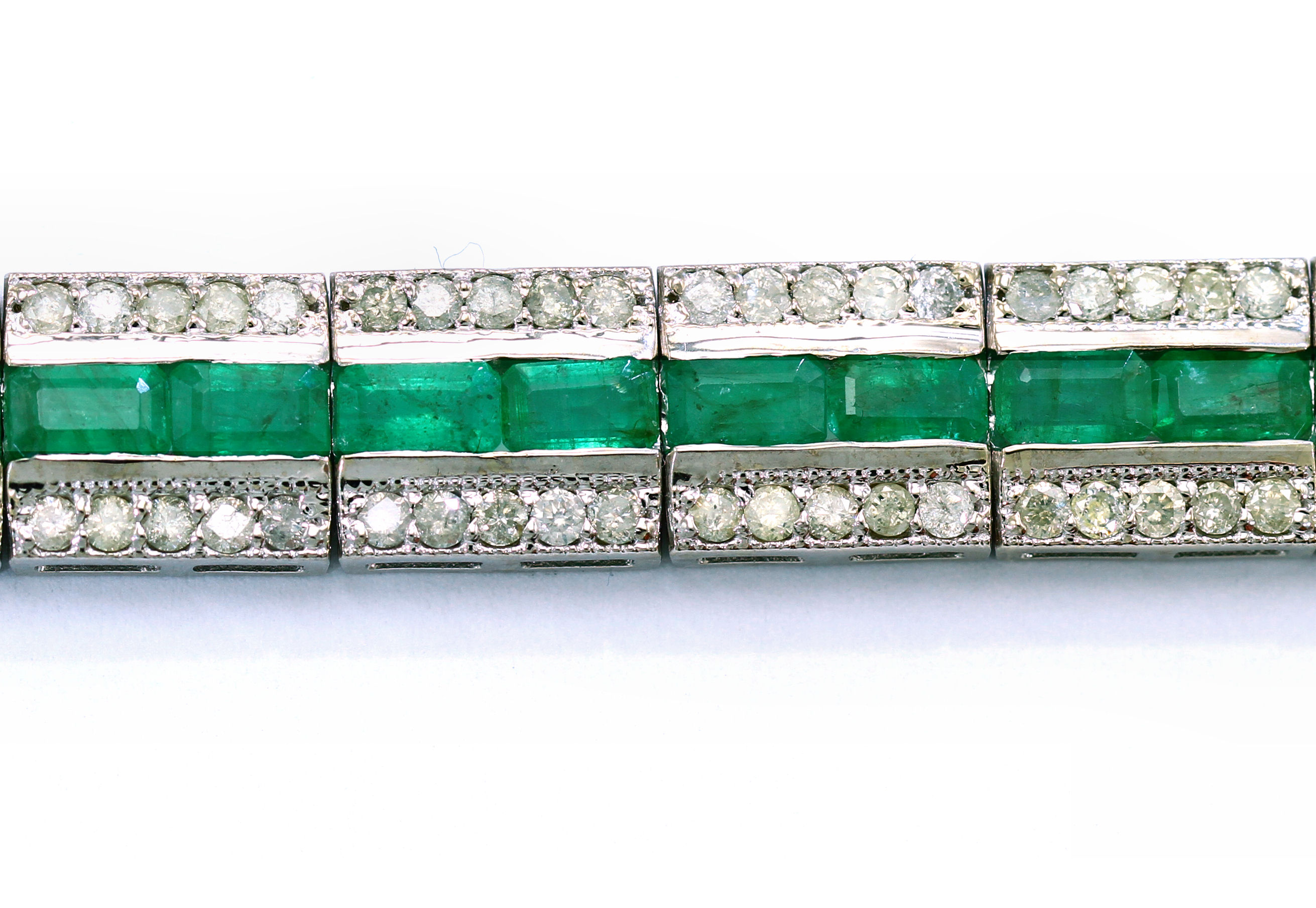 plated silver and eternity gold three bracelet cz emerald tennis diamond row