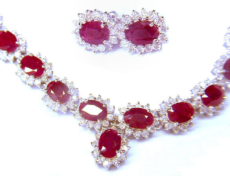 38 40ct Ruby Diamond Necklace Earrings Set In 14k White Gold