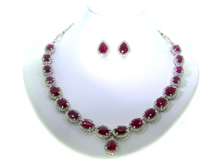 37 75ct Ruby Amp Diamond Necklace Amp Earrings Set In 14k
